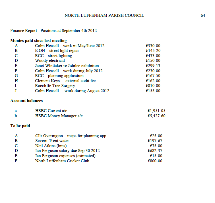 Finance Report - Positions at September 4th 2012