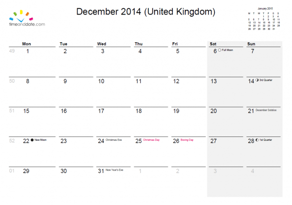 Create your own calendar at timeanddate.com