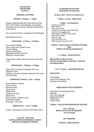 Village Day 2016 Programme